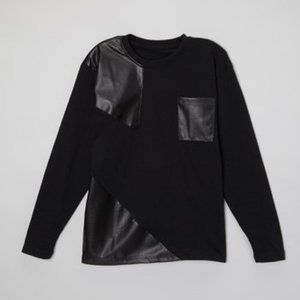 Black Leather Contrast-Trim Tee - Boys